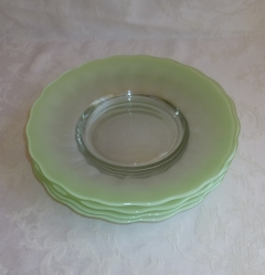 Frosted Glass Plates, set of 4 mint green 8 3/4