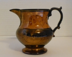 Copper Luster Pitcher peach color floral 1800