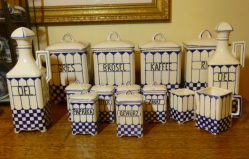Canister & Spice Set, Hand Painted Delft Blue Ceramic