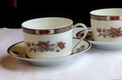 Royal Limoges Mandarin coffee cups & saucers 2 sets French L