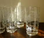 Salina Susquehanna Glass Tumblers Set of 8 Floral Etching