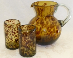 Tortise Shell Art Glass Pitcher Tumblers spatter, blown