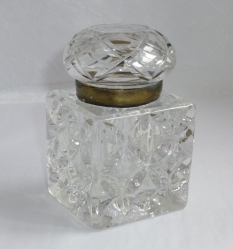 Inkwell large art deco cut glass, large brass hinge lid