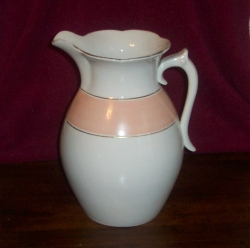 Wash Pitcher, Trenton Pottery 1872-79 Ironstone pink band